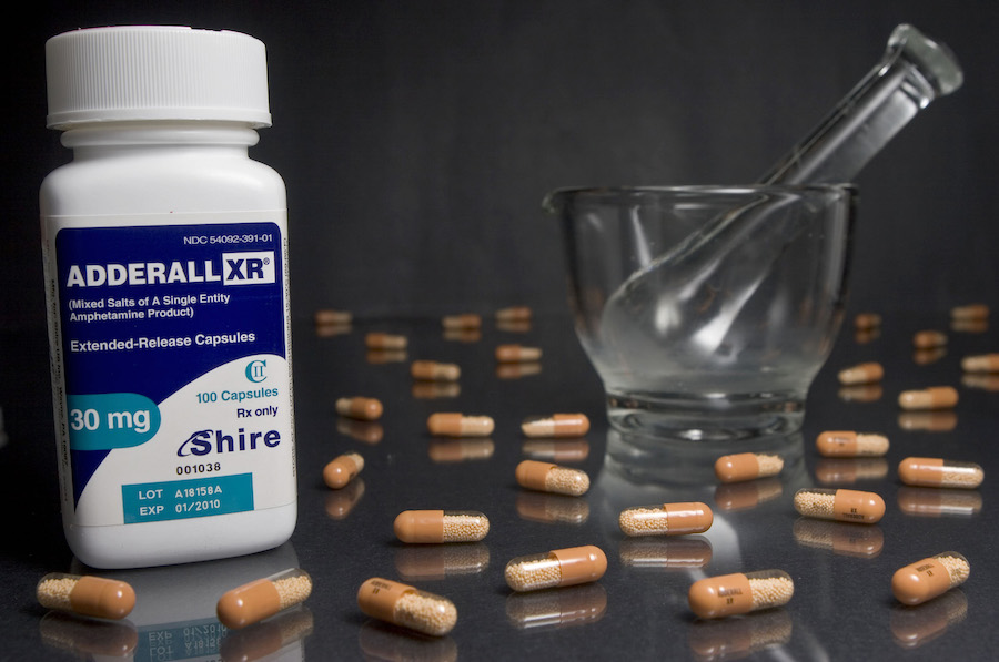30mg tablets of Shire Plc's Adderall XR are arranged in fron